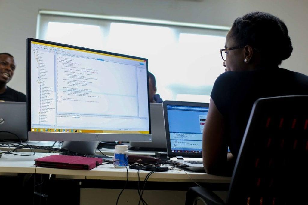 Software developer on the job