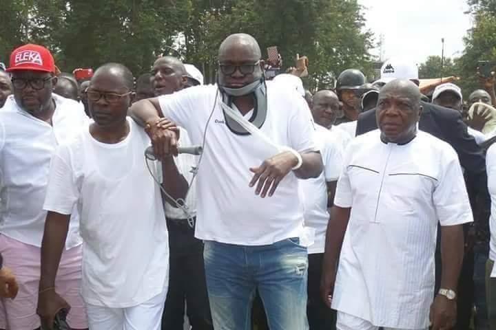 Ekiti state Governor Ayo Fayose and his entourage