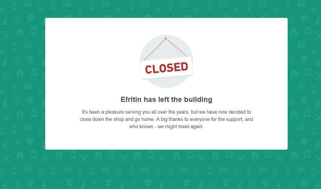 efritin shutdown